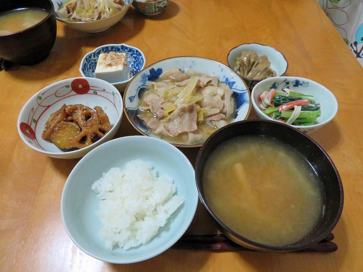 豚 バラ うま煮 白菜